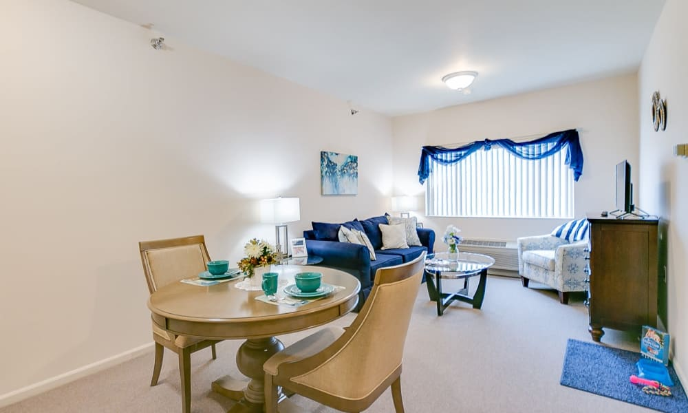 Independent living room model at Brentwood at Hobart in Hobart, Indiana