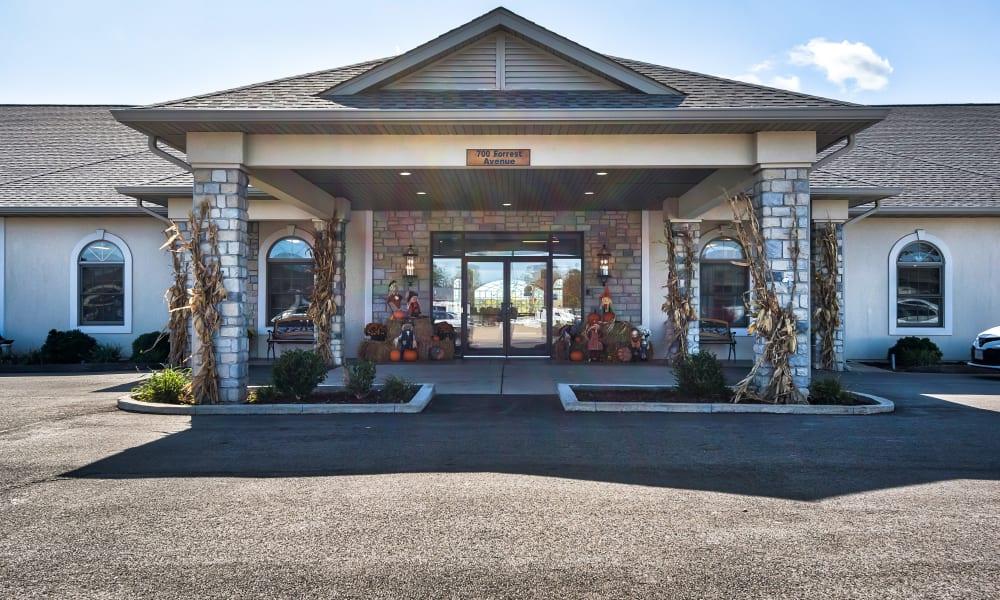 Main entrance to Oak Pointe of Warrenton decorated festively for fall,  in Warrenton, Missouri