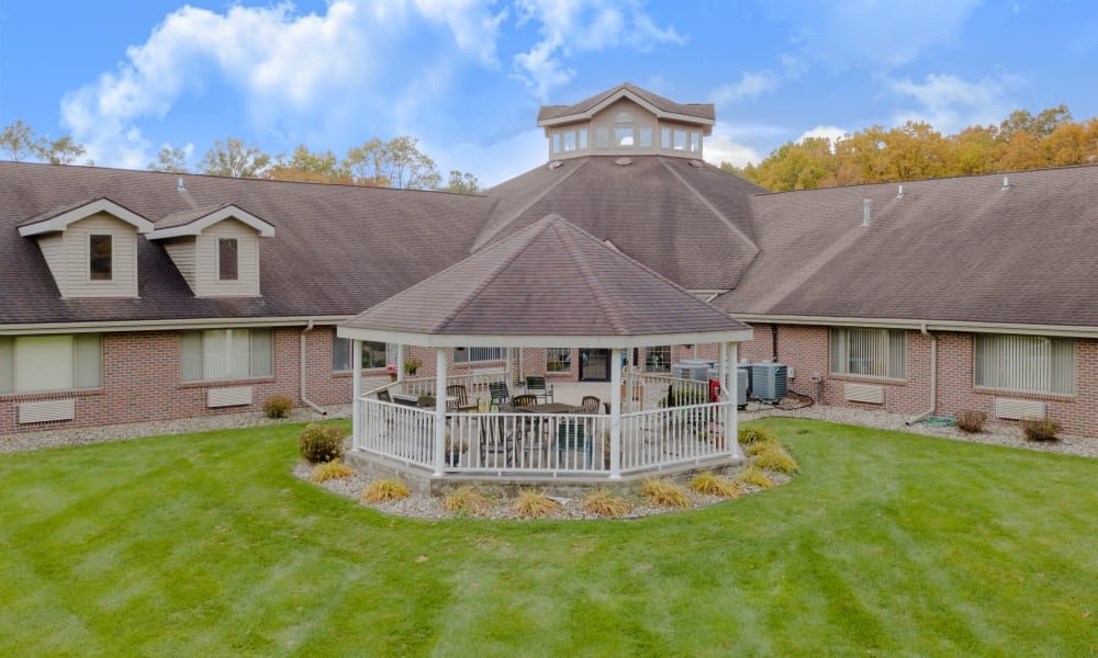 Aerial view of gazebo at Eastlake Terrace in Elkhart, Indiana