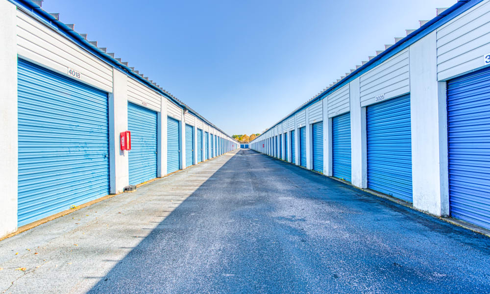 Driveway through storage units at Devon Self Storage in Memphis, Tennessee