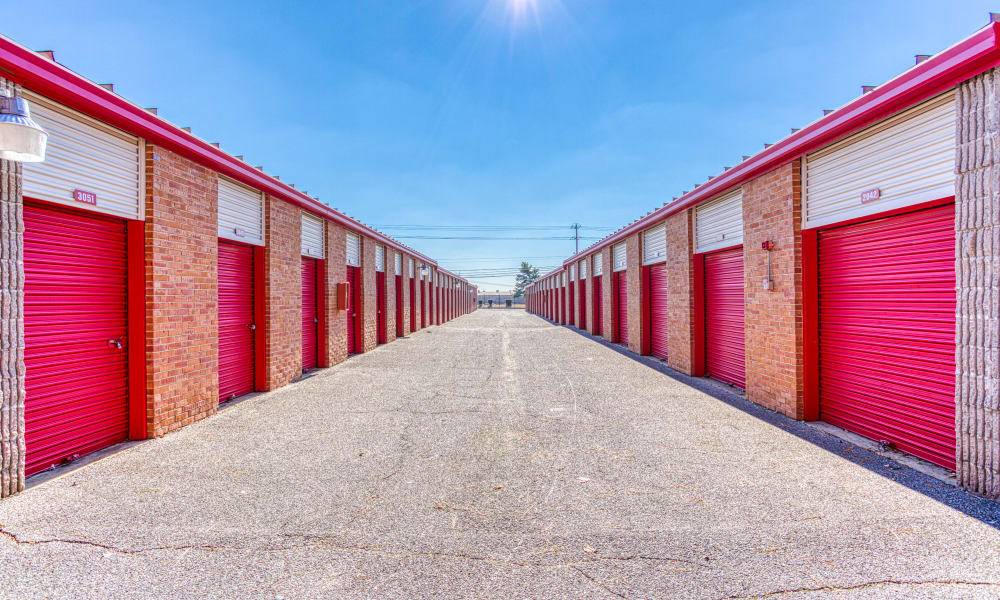 Open driveway through storage units at Devon Self Storage in Memphis, Tennessee