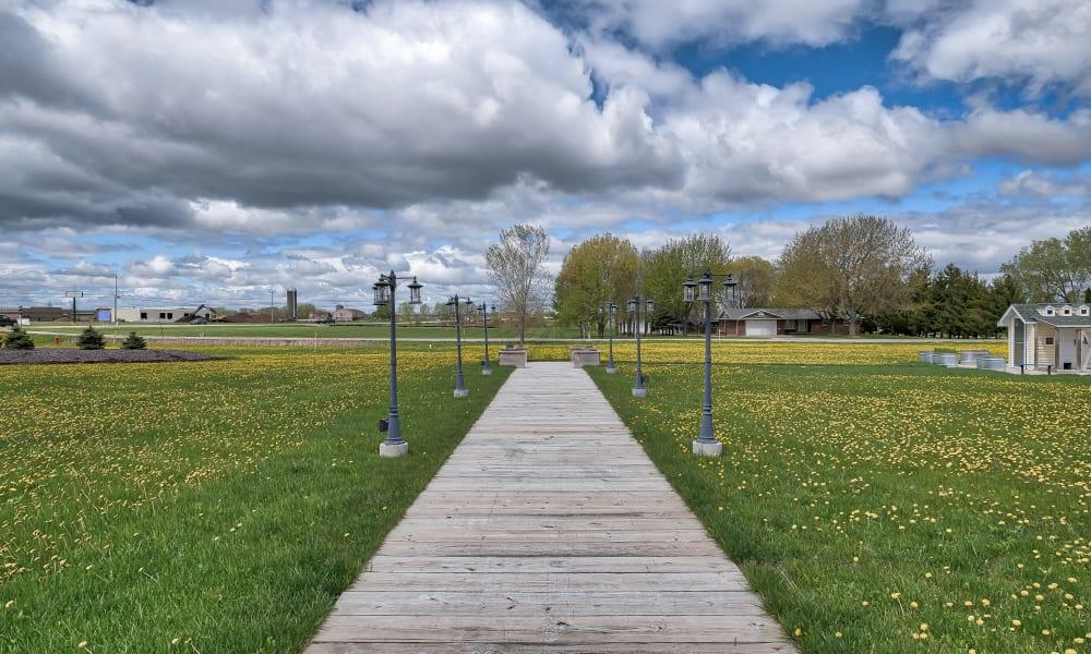 A walkway at The Landings of Kaukauna in Kaukauna, Wisconsin