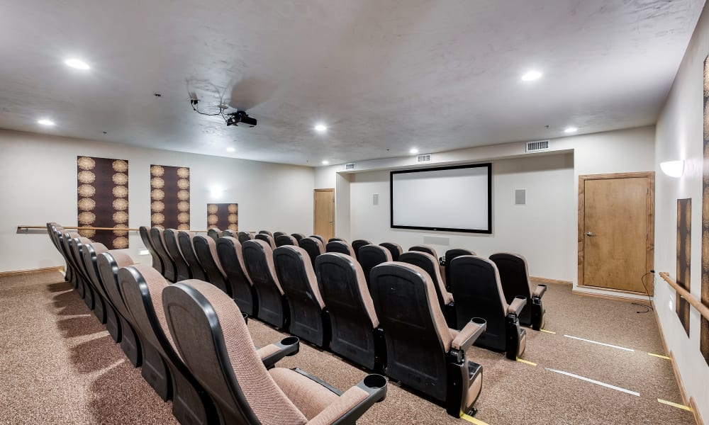 A movie viewing room at Allouez Sunrise Village in Green Bay, Wisconsin