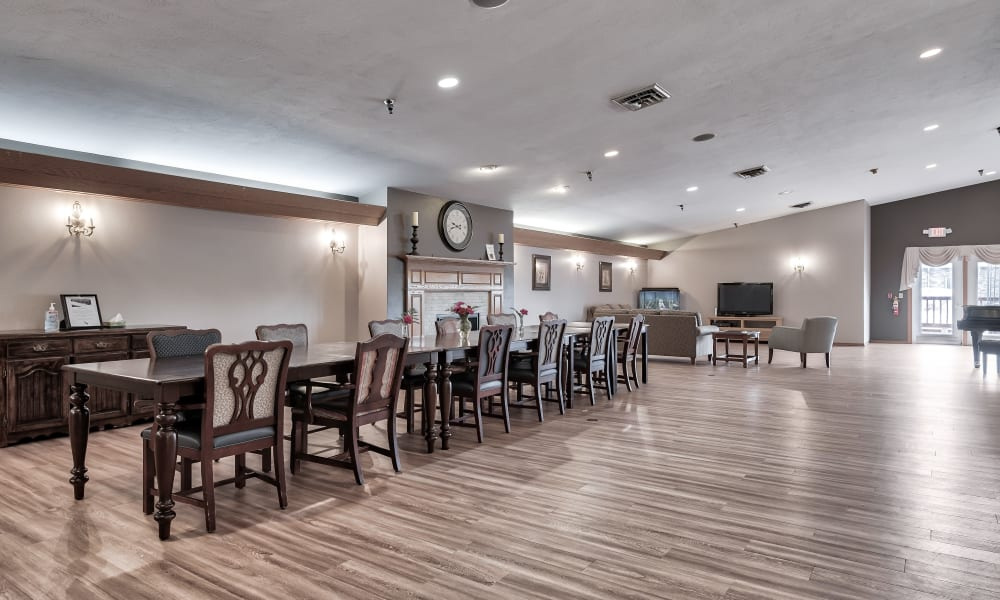 A spacious dining area at Bishop's Court in Allouez, Wisconsin