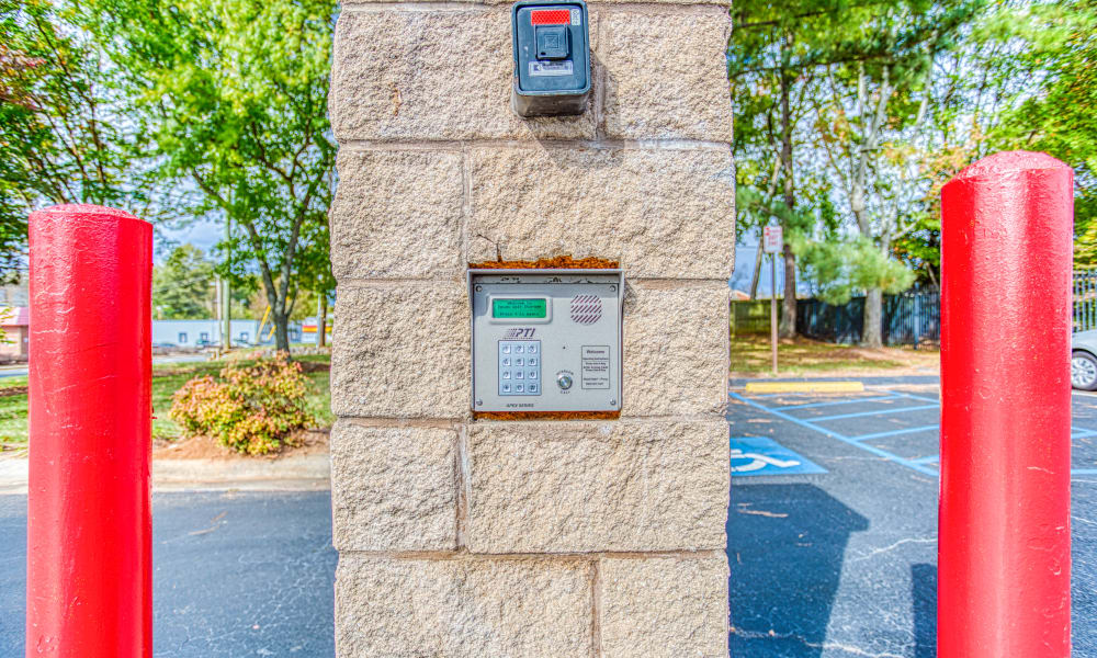 Keypad for gated entry in Charlotte, North Carolina at Devon Self Storage