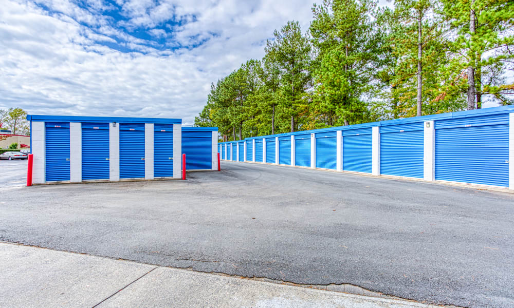 Driveway through storage units at Devon Self Storage in Charlotte, North Carolina