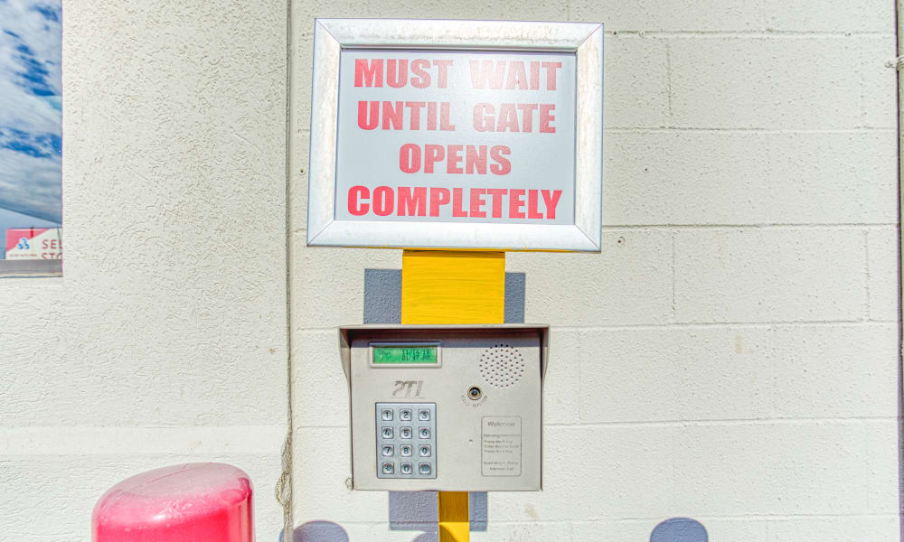 Keypad for gated entry at Devon Self Storage in Memphis, Tennessee