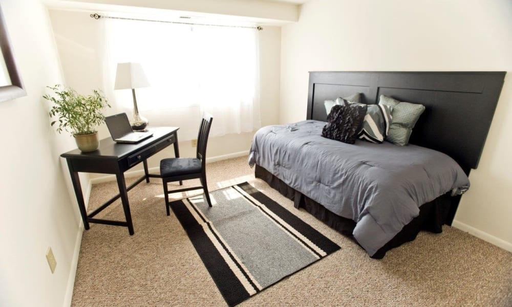Bright, carpeted bedroom at Strafford Station Apartments in Wayne, Pennsylvania