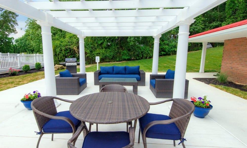 Outdoor patio area at Strafford Station Apartments in Wayne, Pennsylvania