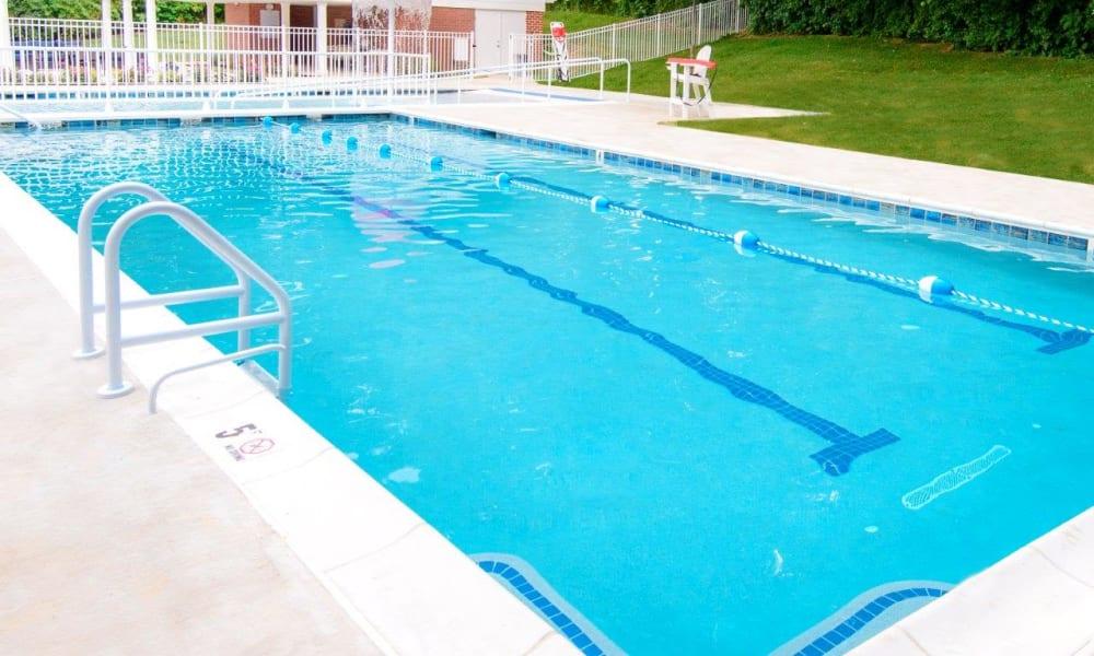 Resort-style swimming pool at Strafford Station Apartments in Wayne, Pennsylvania