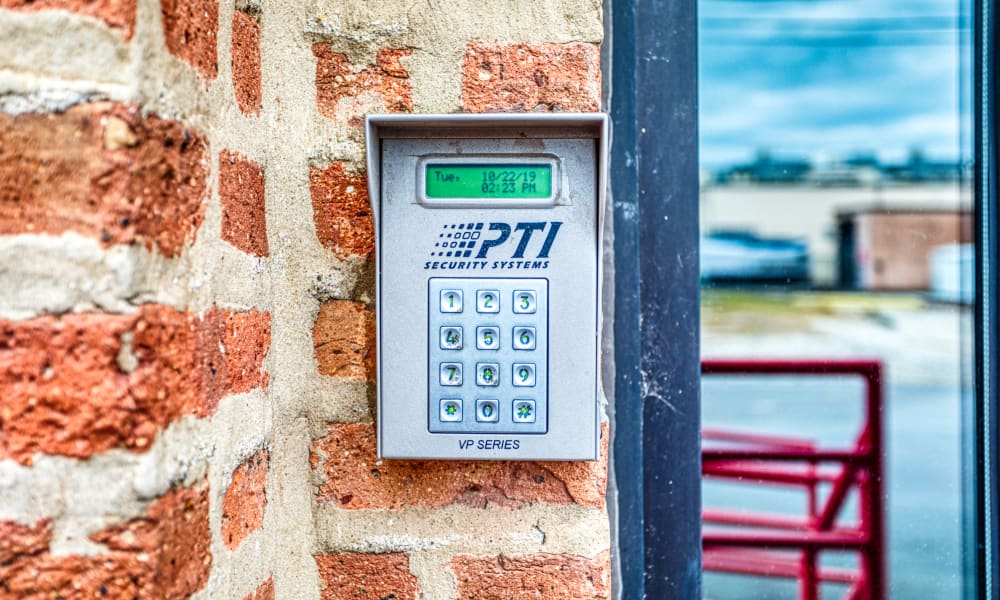 Keypad for gated entry at Devon Self Storage in Chicago, Illinois