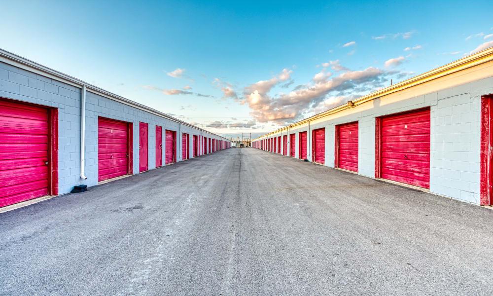 Driveway through storage units at National Mini Warehouses in Urbana, Illinois
