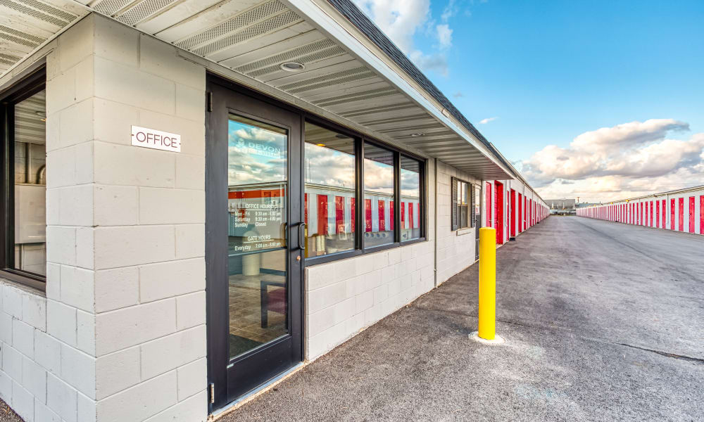 Front office and rows of self storage units at Devon Self Storage in Urbana, Illinois