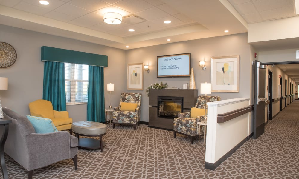 Fireside seating at Trilogy Health Services - Miami Township in Miami Township, Ohio