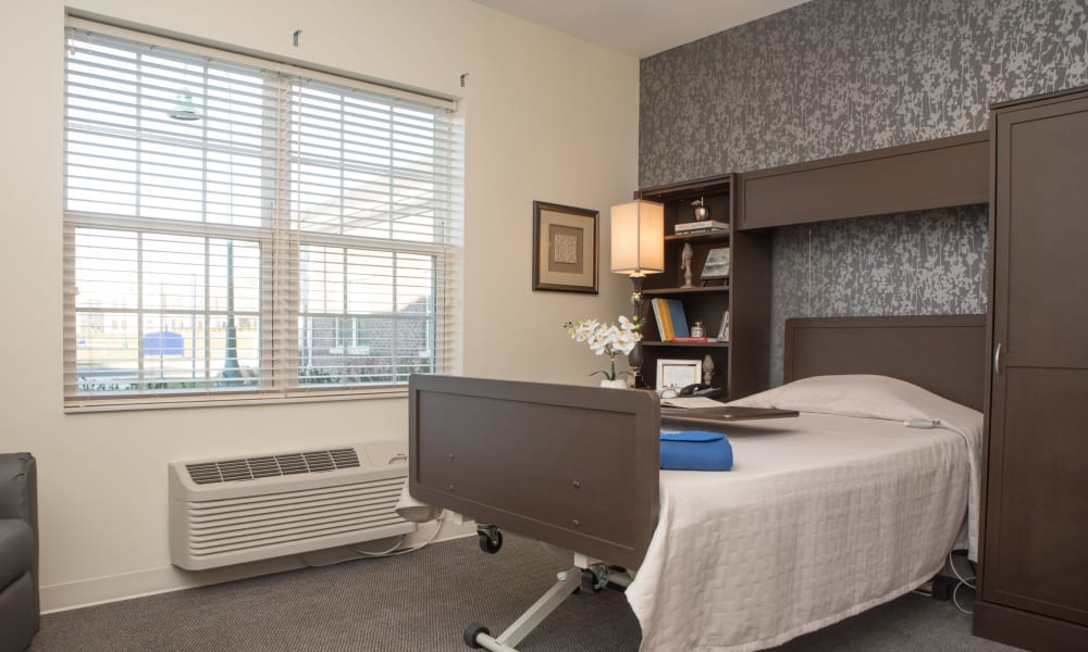 A skilled nursing bedroom at Trilogy Health Services - Miami Township in Miami Township, Ohio