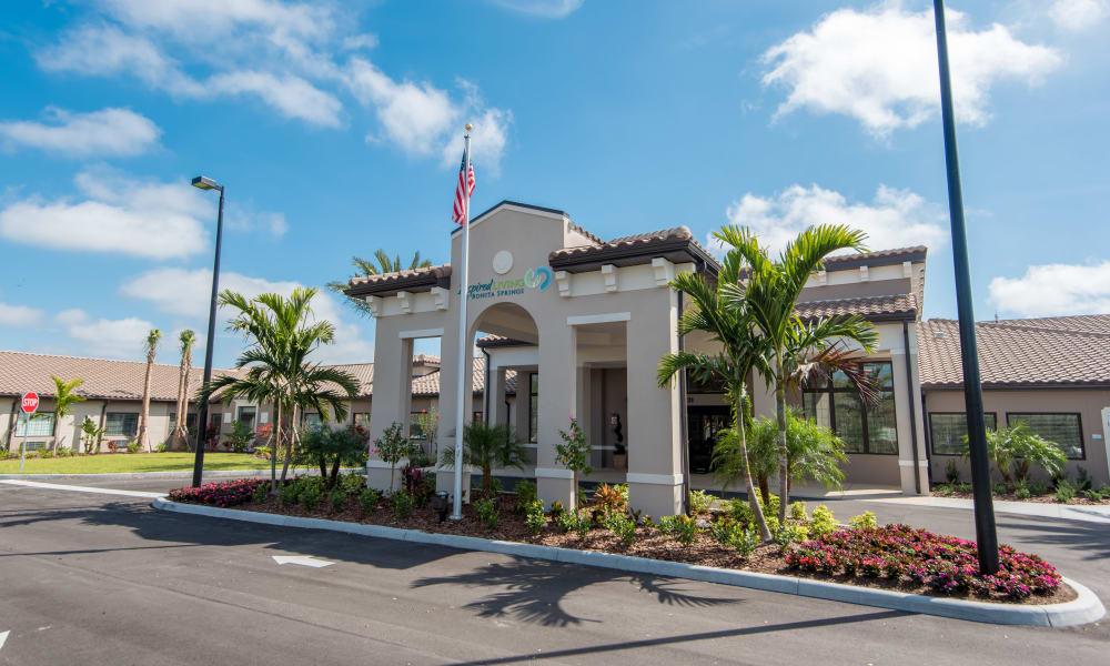 Exterior view of main entrance to Inspired Living Bonita Springs in Bonita Springs, Florida
