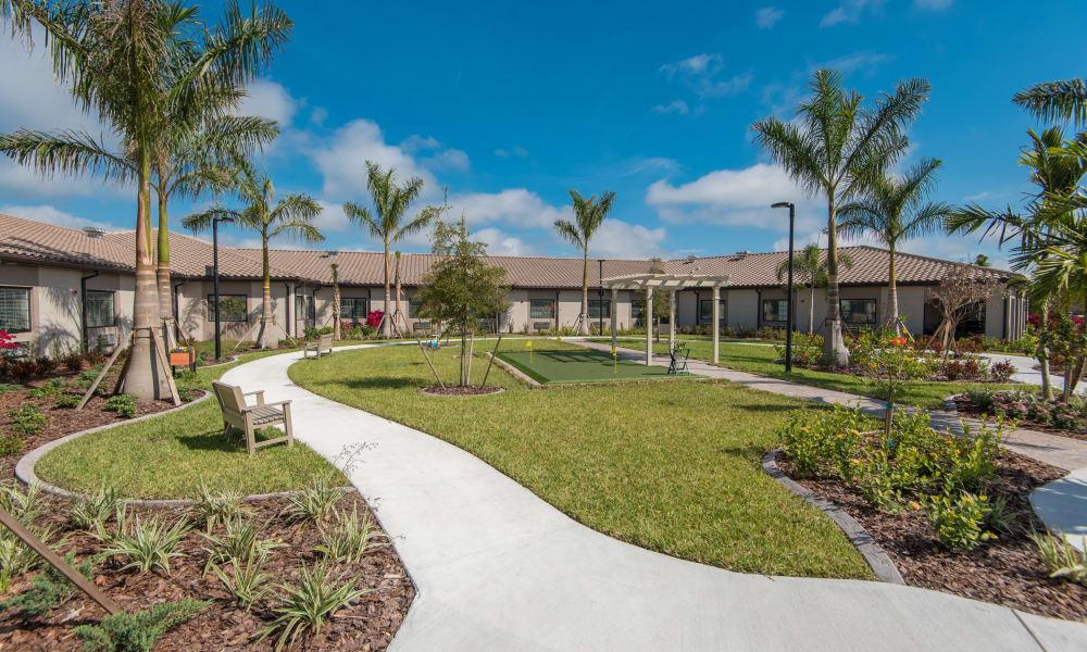 Putting green at Inspired Living Bonita Springs in Bonita Springs, Florida