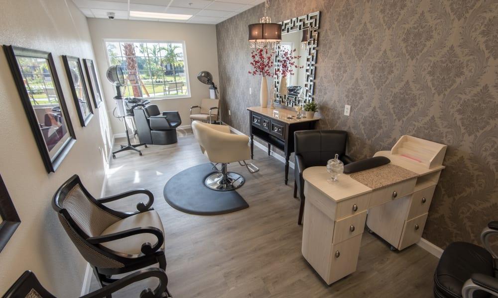 Onsite resident salon at Inspired Living Bonita Springs in Bonita Springs, Florida.