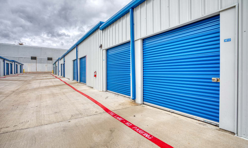 Driveway through storage units at Devon Self Storage in Seabrook, Texas