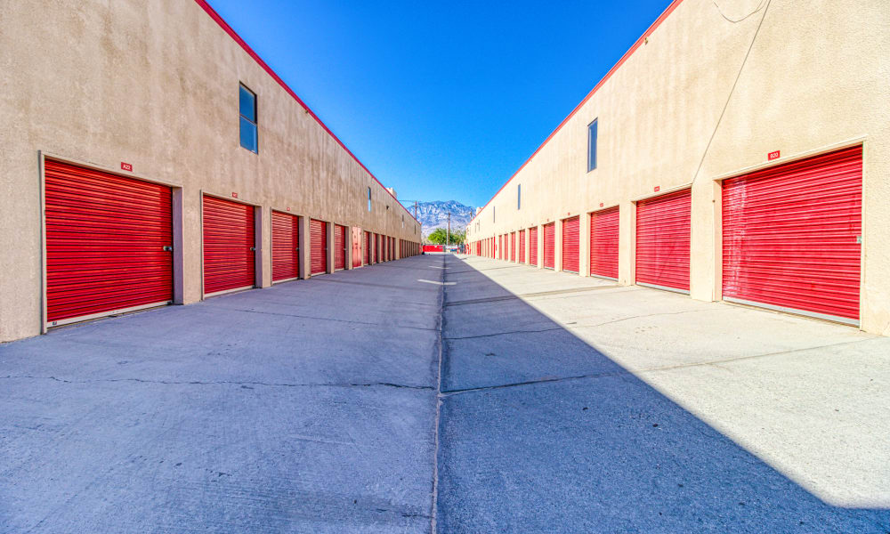Driveway through storage units at Devon Self Storage in Thousand Palms, California