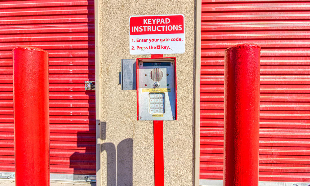 Keypad for gated entry at Devon Self Storage in Thousand Palms, California