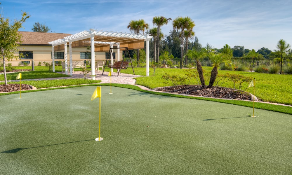A Putting green at Inspired Living Hidden Lakes in Bradenton, Florida