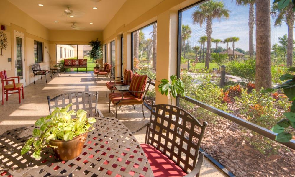Beautiful sunroom at Inspired Living Hidden Lakes in Bradenton, Florida