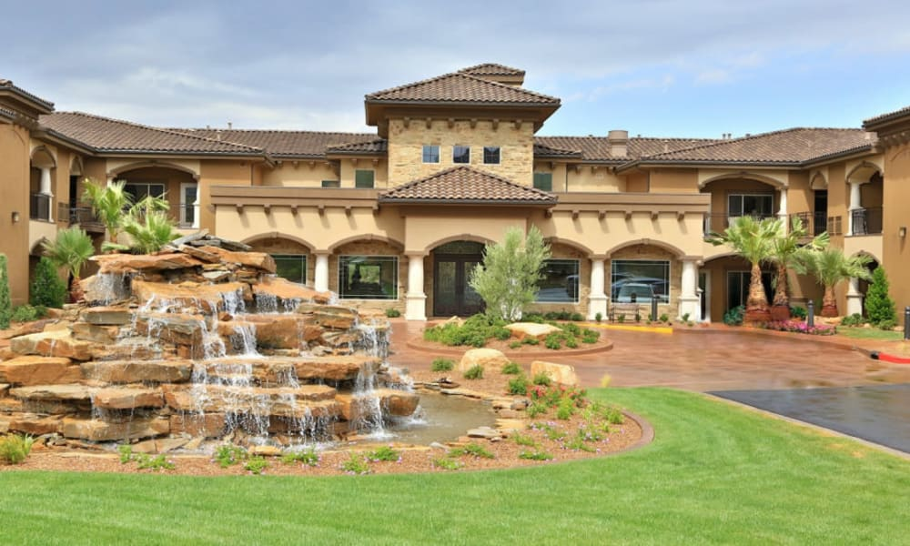 A fountain in front of The Retreat at Sunriver in St. George, Utah