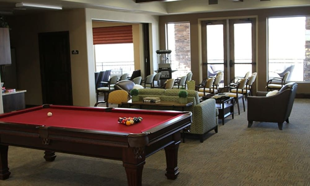 A pool table in a common area at The Retreat at Sunriver in St. George, Utah