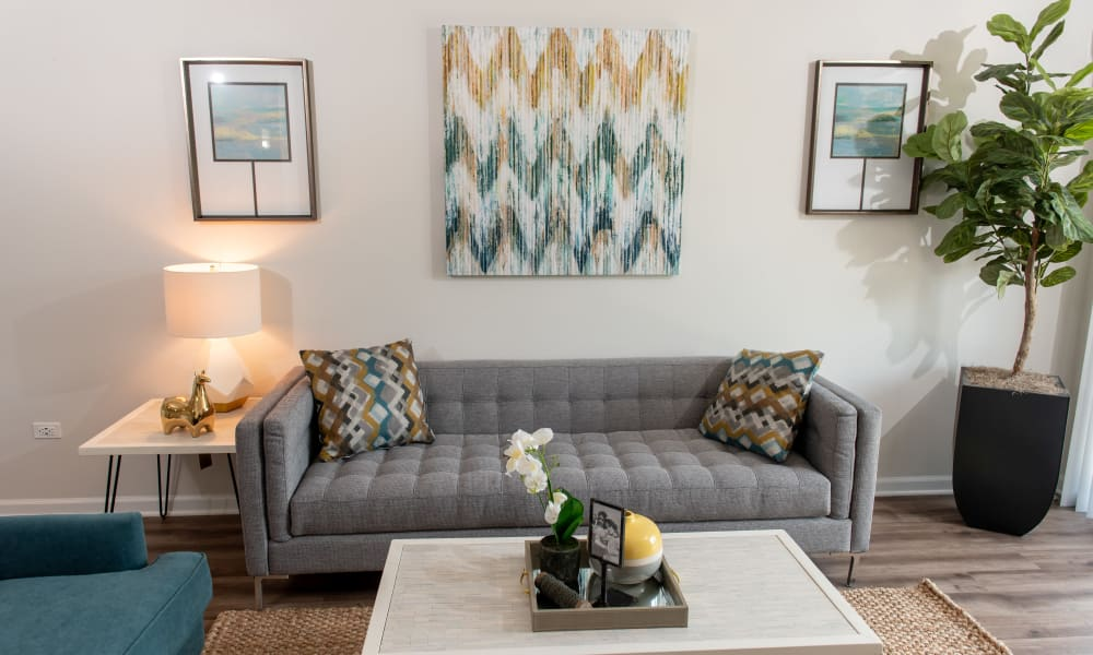 Pine Hill Apartments offers a Living Room in Wheeling, Illinois