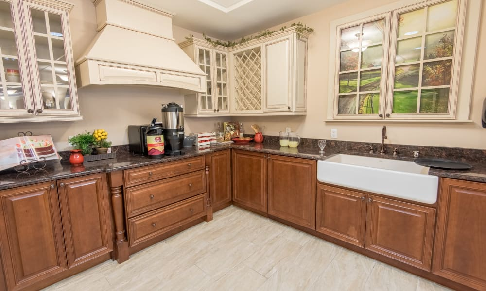 Community kitchen at Inspired Living Lakewood Ranch in Bradenton, Florida.