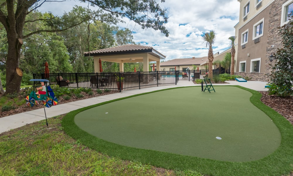 A small Putting green at Inspired Living in Royal Palm Beach, Florida