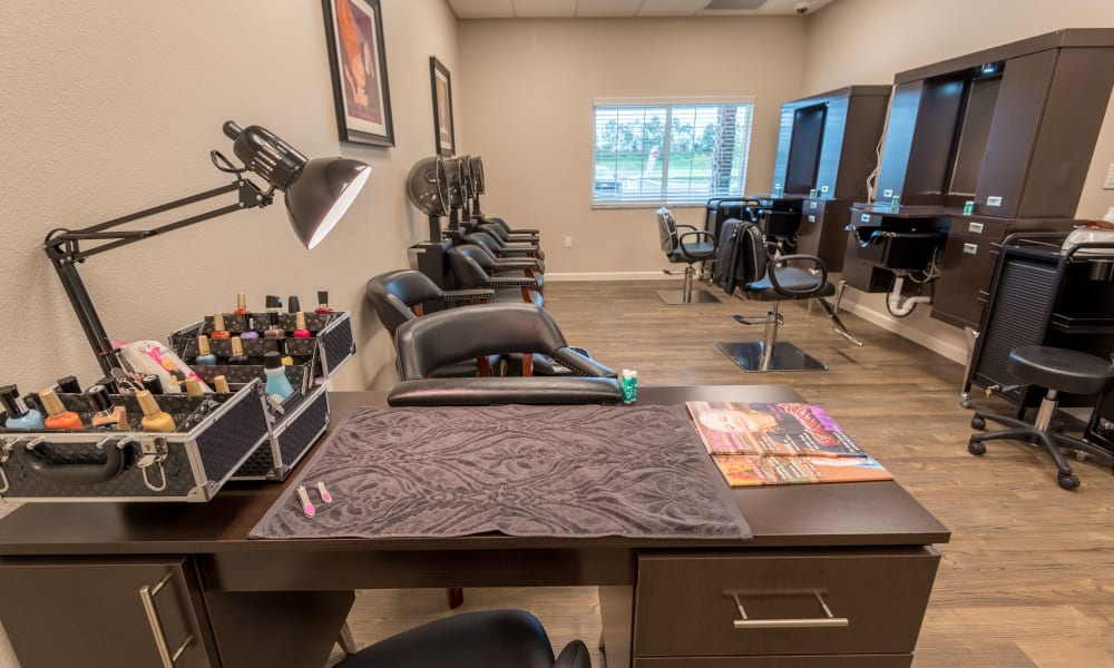 Onsite resident salon at Inspired Living at Royal Palm Beach in Royal Palm Beach, Florida.