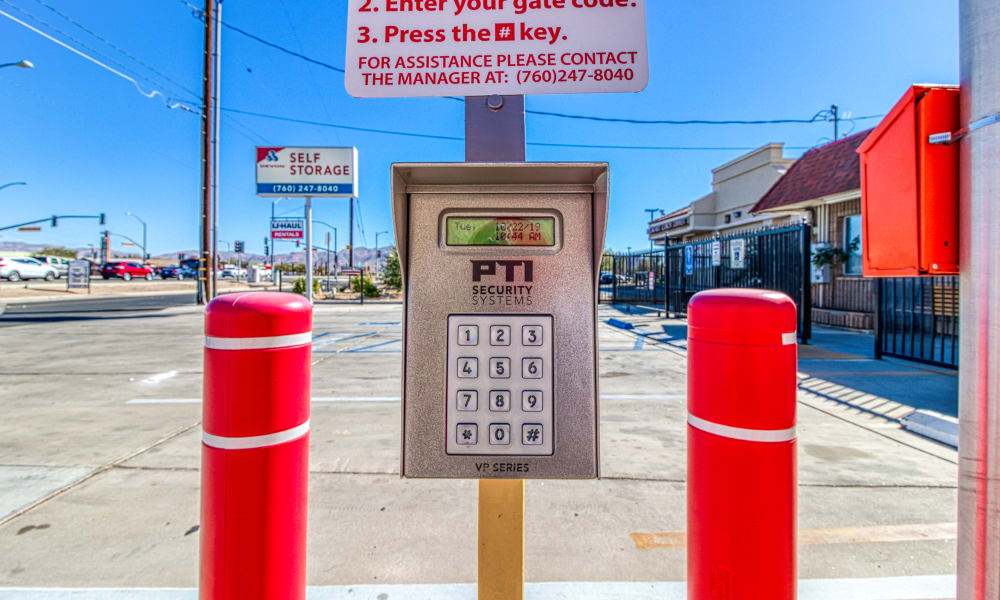 Keypad for gated entry at Devon Self Storage in Apple Valley, California