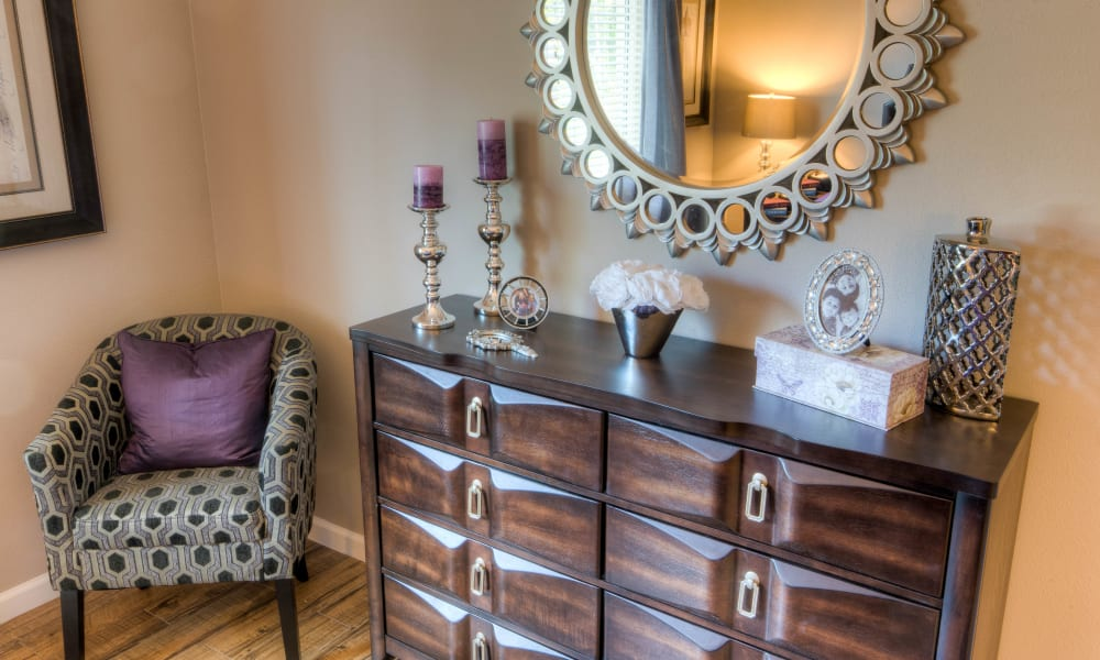 A dresser and mirror at Inspired Living in Tampa, Florida.