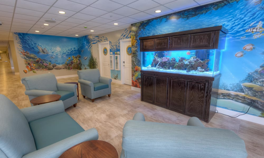 Memory care lounge area at Inspired Living Tampa in Tampa, Florida