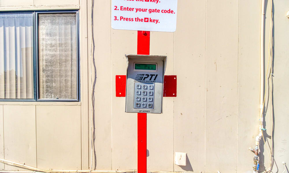 Keypad for gated entry at Devon Self Storage in Cathedral City, California