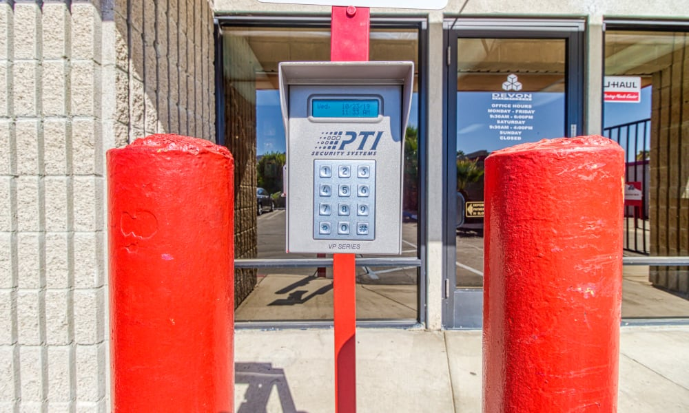 Keypad for gated entry at Devon Self Storage in Palm Springs, California