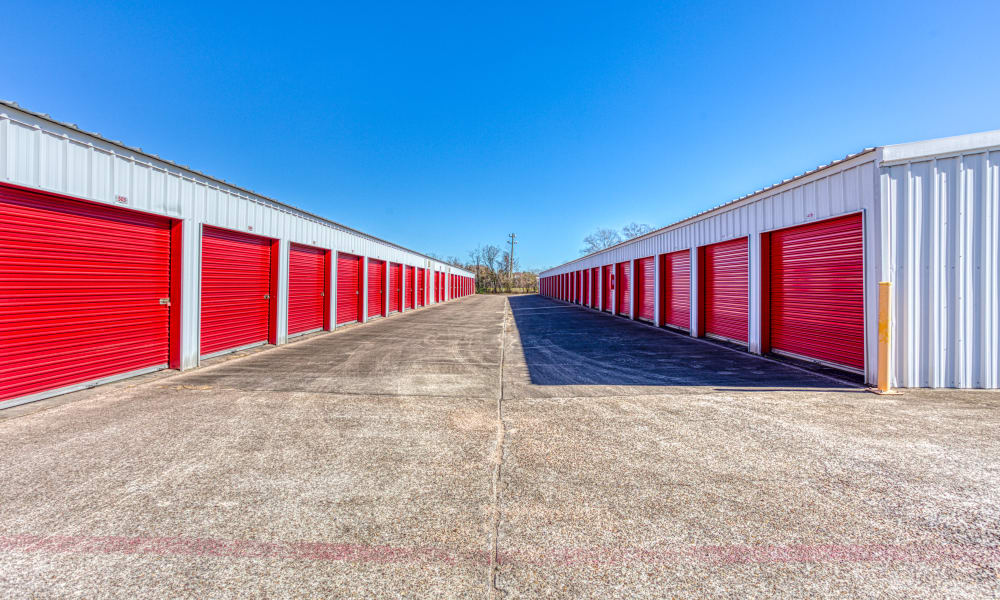 Driveway through storage units at Devon Self Storage in Pasadena, Texas