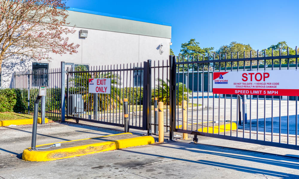 Keypad for gated entry at Devon Self Storage in Spring, Texas