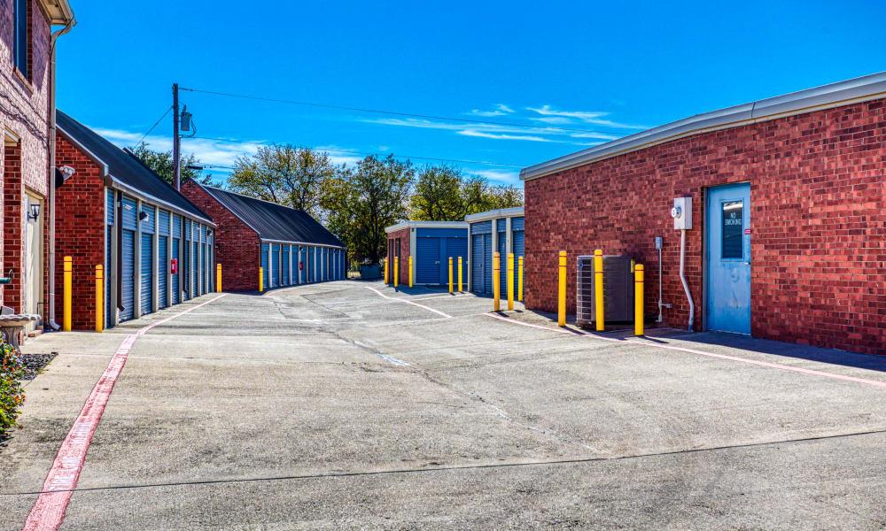 Driveway through storage units at Devon Self Storage in Sherman, Texas