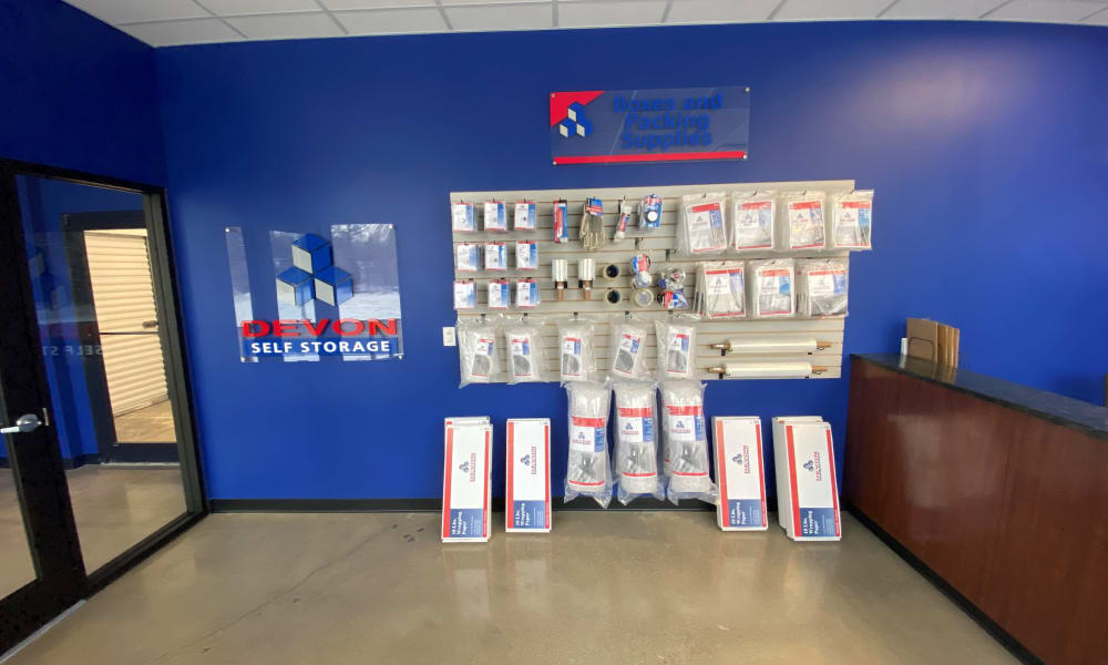 Packing supplies available for purchase at the front office at Devon Self Storage in Cincinnati, Ohio