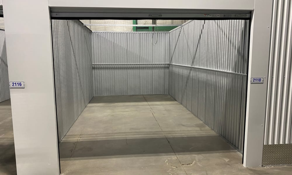 Open storage unit at Devon Self Storage in Cincinnati, Ohio