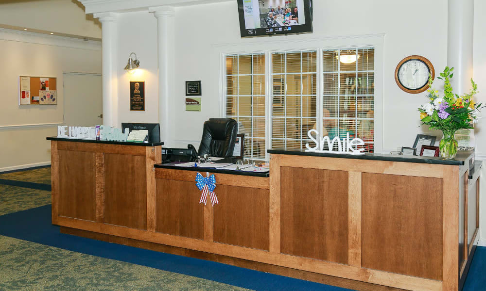 The reception desk at Traditions of Lansdale in Lansdale, Pennsylvania