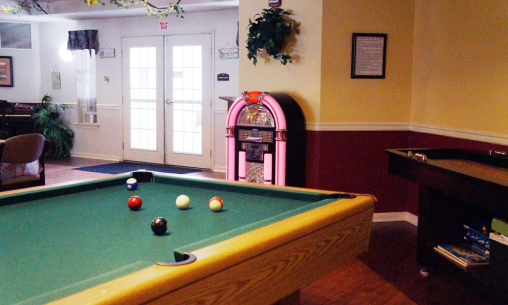 The pool table in the game room near Traditions of Cross Keys in Glassboro, New Jersey
