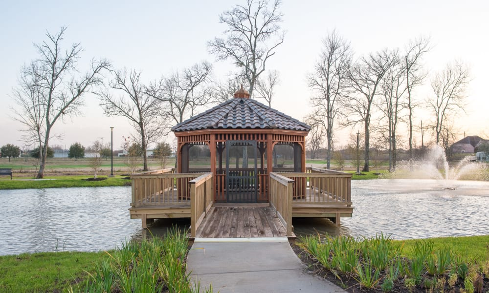 Gazebo and pond at Inspired Living Sugar Land in Sugar Land, Texas.