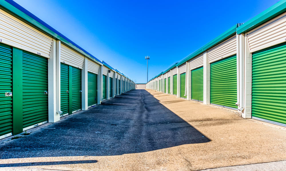 Driveway through storage units at Devon Self Storage in Sherman, Texas