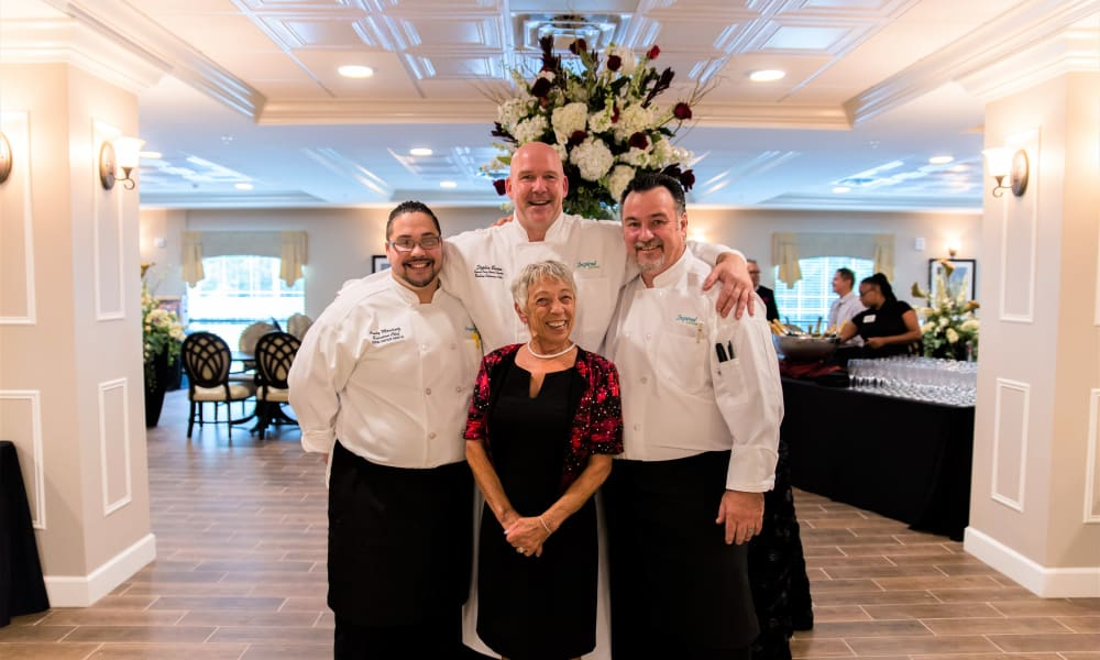 A few dining staff members at Inspired Living at Sugar Land in Sugar Land, Texas