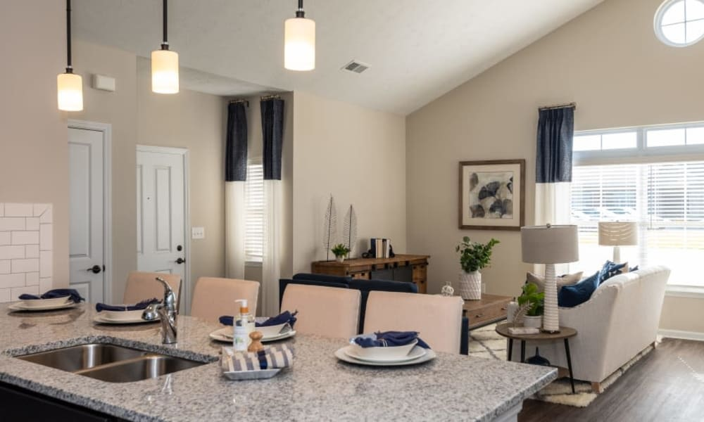 Kitchen and living room combo at Randall Residence of Centerville in Centerville, Ohio