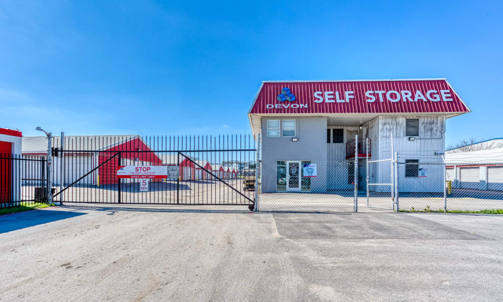 Office and gated entry at Devon Self Storage in Austin, Texas